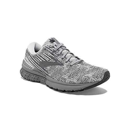 Brooks Mens Adrenaline GTS 19 Running Shoe - Grey/White/Ebony - D - 11.0