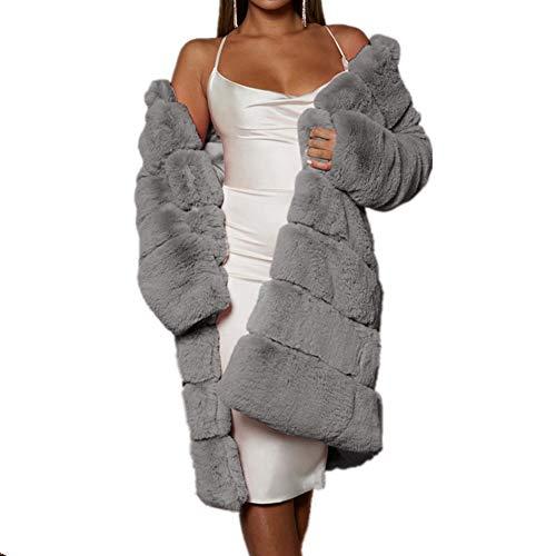NQSB Frauen Wintermantel Mantel Lange Faux Kaninchenfell Mäntel Frauen Bedeckt Taste Patchwork Jacke Outwear Frauen Faux Pelzmantel