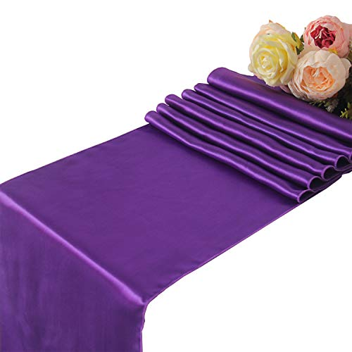 "WELMATCH Purple Satin Table Runners Wedding Party - 10 pcs Banquet Event Decoration 12"" x 108"""