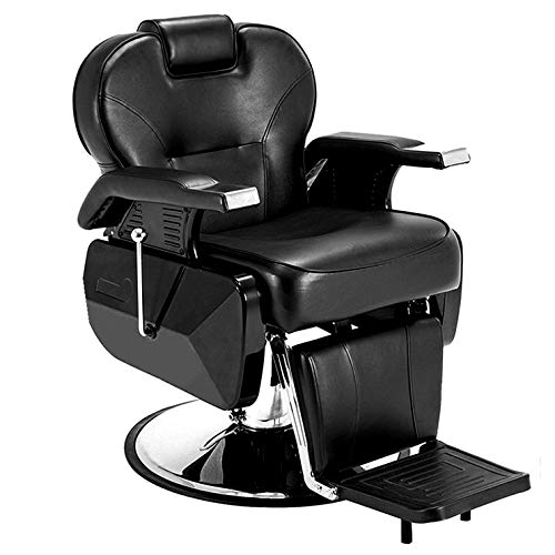 Paddie Barber Chair, Salon Chair for Hair Stylist All Purpose Reclining Hydraulic Heavy Duty Swivel Styling Beauty Salon Barber Equipment, Black