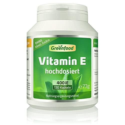Vitamin E, 400 iE, hochdosiert, 120 Kapseln - wichtiger Anti-Oxidant, schützt die Zellen vor vorzeitiger Alterung (Anti-Aging). OHNE künstliche Zusätze. Ohne Gentechnik.