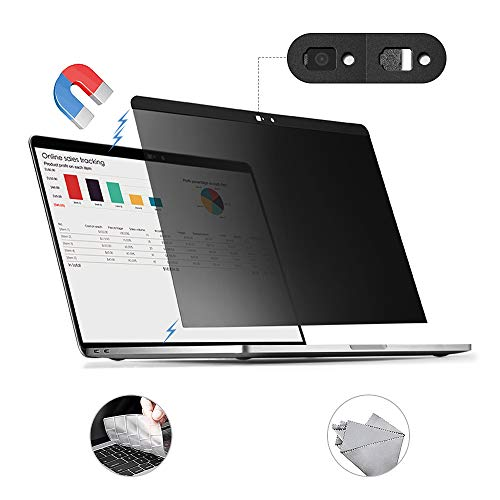 for MacBook Pro 15 inch Privacy Screen Protector Filter, Magnetic Installation, Webcam Cover, TPU Keyboard Cover, (for MacBook Pro 15 inch (2016~2020)