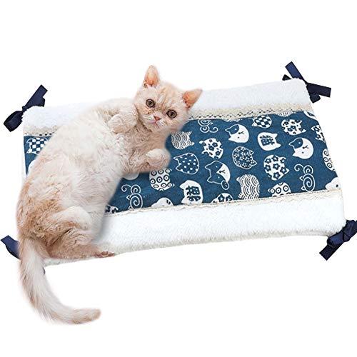 Umora 睡眠マット ペットクッション 冬 犬猫用 ケージに組み合わせ 両面 柔らかい 両面が使える ストラップ?レースデザイン 厚い コットン 28*45CM(B白い猫)