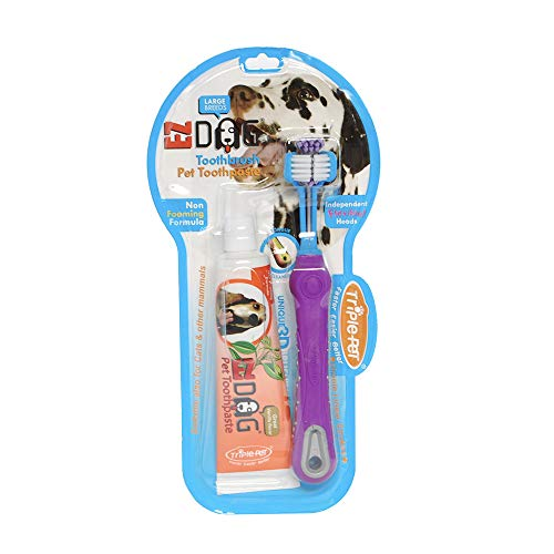 EZ DOG Dental Care Kit Contains 3Sided Toothbrush amp AllNatural Vanilla Toothpaste | Helps Prevent Plaque amp Tartar Buildup | Dogs Love the Taste Large Breed