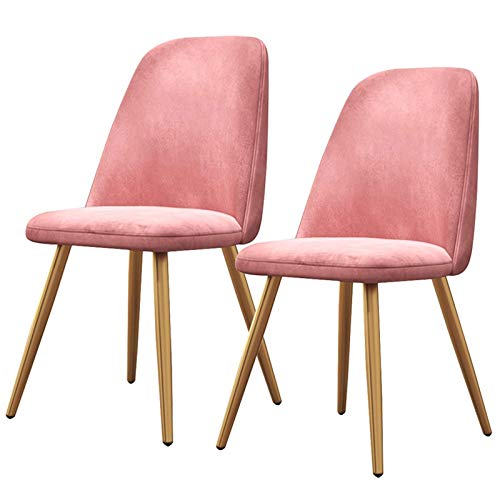 2× Dining Chairs Backrest Soft Cushion Tulip Style Ergonomic Office Chair Metal Chair Legs Upholstered Seat Dining Office Lounge Chair (Color : Pink)