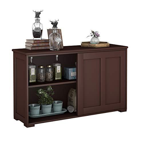 COSTWAY Sideboard Küchenschrank Badkommode Wohnzimmerregel Beistellschrank Anrichte Mehrzweckschrank mit Schiebetüren Braun