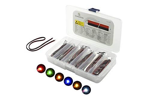 QUADRIOS GmbH SMD-LED 0603 Leuchtdioden Sortiment Set mit Litzen bedrahtet 30 Teile Sortimentskasten Rot/Grün/Gelb/Blau/Weiß/Bernstein