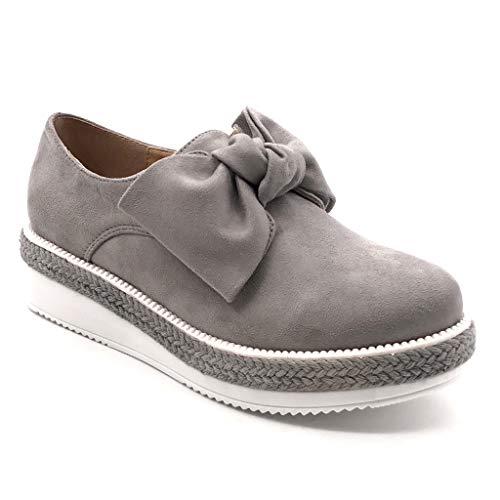 Angkorly - Zapatillas Moda Mocasines Zapato Derby Plataforma Slip-on Mujer Nodo Cuerda Trenzado Plataforma 4 CM - Gris YT-11 T 38