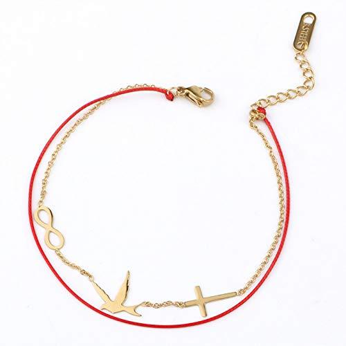 N/A Joyas de Pulsera Pulseras de Cadena de eslabones de Doble Capa Pulsera con Dije Infinito de águila Cruzada para Mujer Cuerda Simple Chai Regalo de cumpleaños de San Valentín