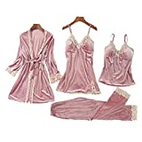 FMOGQ Conjuntos De Pijamas Sexis para Mujer, 4 Piezas, Ropa De Dormir De Encaje De Satén De Seda, Bata, Pantalones, Camisón, Pantalones, Lencería, Conjuntos De Pijama