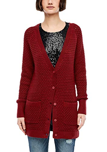 Q/S designed by - s.Oliver Damen Long-Cardigan aus Lochstrick red S