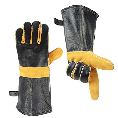 Extreme Heat & Fire résistant gants en cuir avec des coutures en Kevlar, parfait pour cheminée, cuisinière, four, Grill, soudage, BBQ, MIG, manique, manutention des animaux, noir-gris 14in/35cm