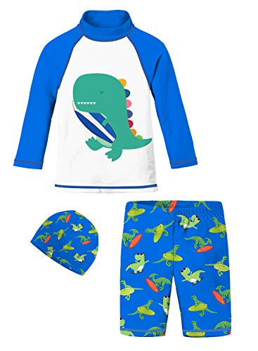 3D Digital Printing Cool Boyshort Swimsuit Color Blue Green Orange Dino Slim Fitted Swimwear Sets with Elastic Cap Sports Training Stretch Two Piece Rash Guard for 5t 6t Cruise Water Park