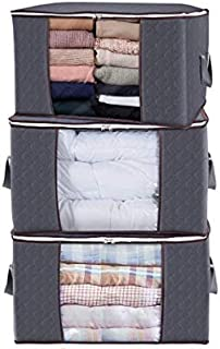 Duel Lot de 3 grands sacs de rangement pour vêtements - Tissu épais avec poignées épaisses - Fermeture éclair solide - Fen...