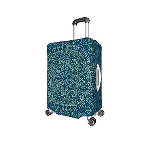 Knowikonwn - Fundas para Equipaje de Viaje, diseño de Mandala, 4 tamaños, Color Azul Oscuro, Blanco (Blanco) - Knowikonwn-scc