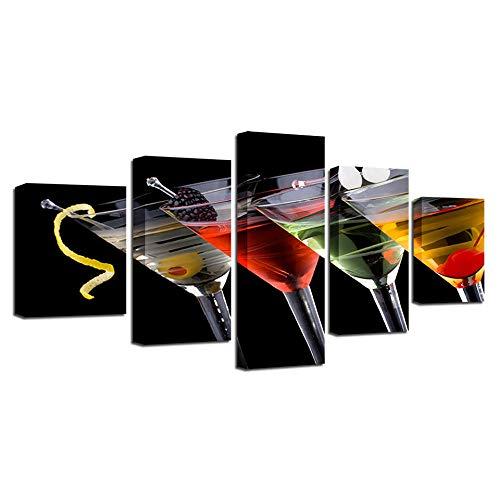 CJFHBVUQ Leinwand Kunstdruck 5 Teilig Weinglas Farbe Art Deco Leinwandbild Wohnung Küche Wanddeko Mit Rahmen 80X150Cm