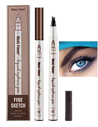 Lapiz de Cejas Waterproof, Tattoo Eyebrow Pen con Cuatro 4 Puntas Duraderas Brow Gel Para Maquillaje de Ojos (Castaño)