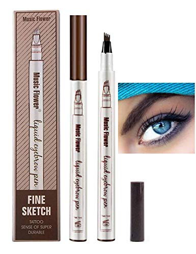 Lapiz de Cejas Waterproof, Tattoo Eyebrow Pen con Cuatro 4 P
