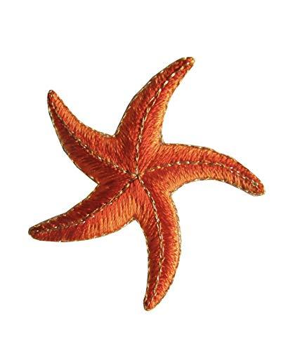 ETDesign #3376 2'x 2' Starfish Embroidery Iron On Applique Patch (Orange)