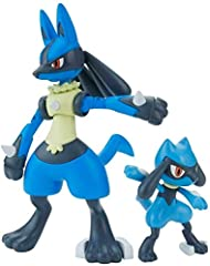 Lucario and Riolu join the Pokemon Model Kit lineup! Lucario features articulation that allows him to recreate Aura Sphere charging pose! Includes display stand for Aura Sphere effect. Only product with affixed official Bluefin and Bandai Namco label...