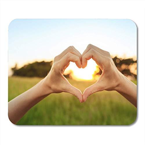 Mauspads Lebensstil Grün Gesundes handgeformtes Herz gegen schönen Sonnenuntergang Mauspad für Notebooks, Desktop-Computer Matten Büromaterial