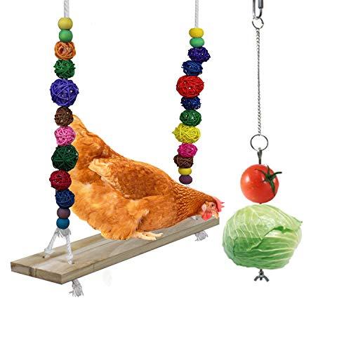 O'woda Hühnerschaukel aus natürlichem Holz, Hühner kauen Spielzeug, Schaukeln und Spielen Training, Geeignet für Verschiedene Hühner, Papageien, Aras und große Vögel, mit 1x Fruchtgabel für Hühner