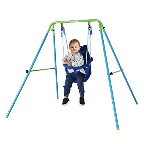 HLC Columpio infantil bebe plegable con asiento plastico de panda para 9 a 36 meses azul