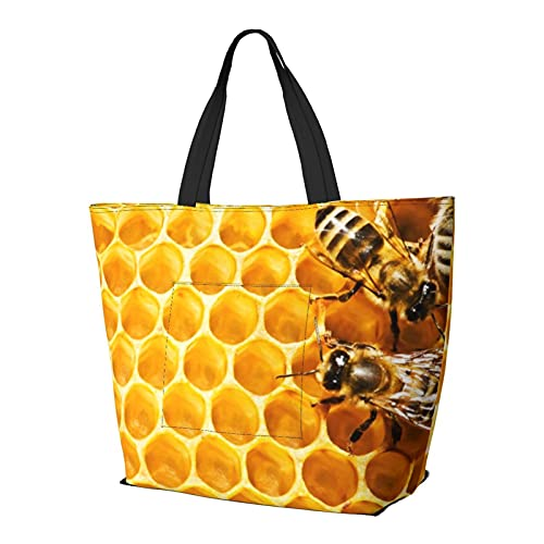 ミツバチと蜂蜜 Honey トートバッグ メンズ レディース シンプル 多機能 撥水 軽量 大容量 ポケット付き お買い物 ショッピング 通勤 通学 トラベル
