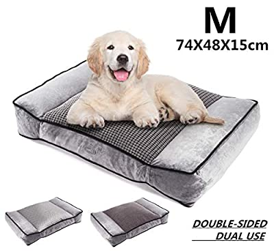 Pecute Large Dog Bed(102x69cm), Shredded 20 cm Memory Foam Orthopaedic Pet Bed for Good Support,Warm Plush & Cool Silk Double Sided Design Four Seasons Available,Removable Cover Washable Easy to Clean by Pecute