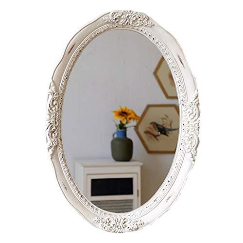 KY-01 Wandspiegel wandmontierter Badspiegel, Oval verzerrter dekorativer Spiegel-Harz-Rahmen Vanity Porch-Hängenspiegel weiß geschnitzt