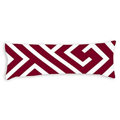 Modern Greek Key Pattern In Cranberry and White Ultra Soft Microfiber Long Body Pillow Cover Pillowcases with Hidden Zipper Closure for Kids Adults Pregnant Women, 20' x 54'