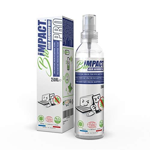 BIOIMPACT Pro (250ml) Limpia Pantallas - VIRUCIDA, Spray desinfectante movil, Limpiador Pantalla Ordenador, desinfectante para Phone, Limpieza pc - ECOCERT - Activo en Virus Norma NF EN14476+A2
