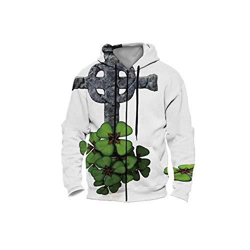 Celtic Clover,Women Men's Zip up 3D Fashion Hoodies Sweatshirts S