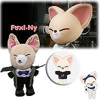 1/8個のウインドブレーカーSkzooぬいぐるみとSkzooバッジ、Skzファンコレクション用の柔らかいSkzooぬいぐるみぬいぐるみ (Foxi ny plush+badge)