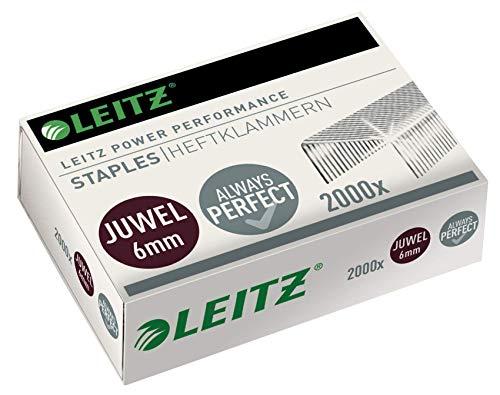 Leitz Juwel Heftklammern 6 mm, Box mit 2000 Stück, Verzinkt, 56420000