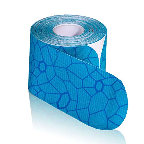 """TheraBand Kinesiology Tape, Waterproof Physio Tape for Pain Relief, Muscle & Joint Support, Standard Roll with XactStretch Application Indicators, 2"""" X 10"""" Strips, 20 Precut Strips, Blue/Blue"""