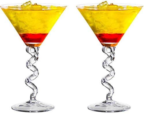 Vasos de cóctel, dispensador de botellas de licor de 280 ml con forma de copa de vino tinto en forma de copa, esquinas, chaflanes y espirales, regalo de whisky