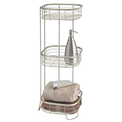 mDesign Estantería de baño – Mueble esquinero para la ducha de metal resistente con 3 baldas – Estante de baño para lociones, toallas de mano, jabón, etc. – satinado