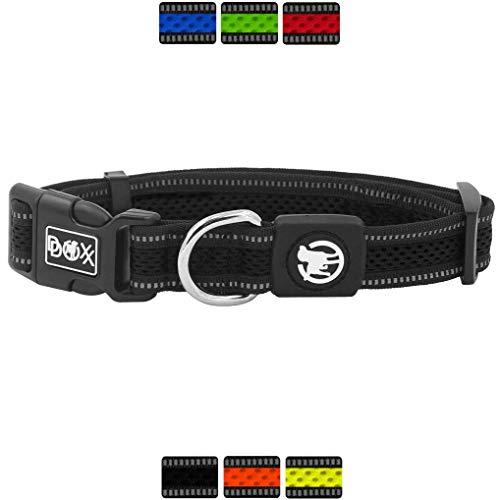 DDOXX Hundehalsband Air Mesh, reflektierend, verstellbar, gepolstert | viele Farben & Größen | für kleine & große Hunde | Halsband Hund Katze Welpe | Hunde-Halsbänder | Katzen-Halsband | Schwarz, S