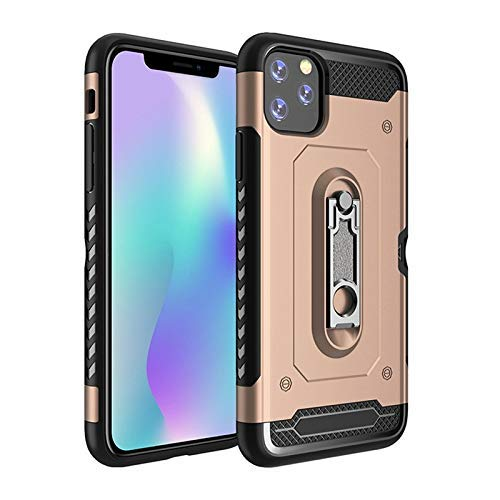 Buckle Bracket Design for iPhone 11 Pro Max 6.5 Inch Case, Kickstand Design Dual Layer Heavy Duty Shockproof Case Soft TPU Case (Color : Golden)