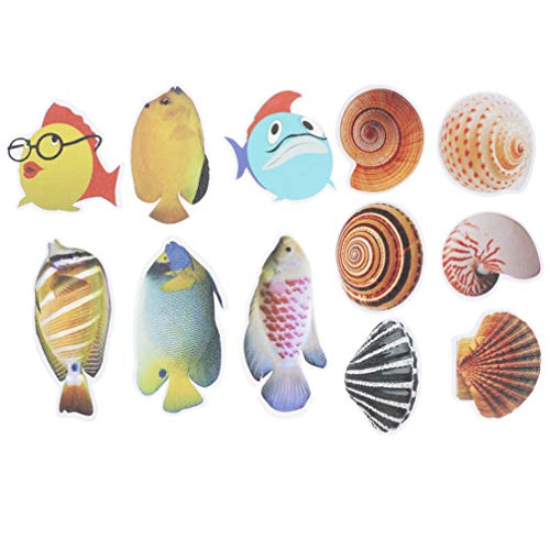 DOITOOL 12PCS Non Slip Bath Tub Stickers Sea Creature Decal Treads Best Adhesive Safety Anti-Slip Appliques for Bath Tub and Shower Surfaces