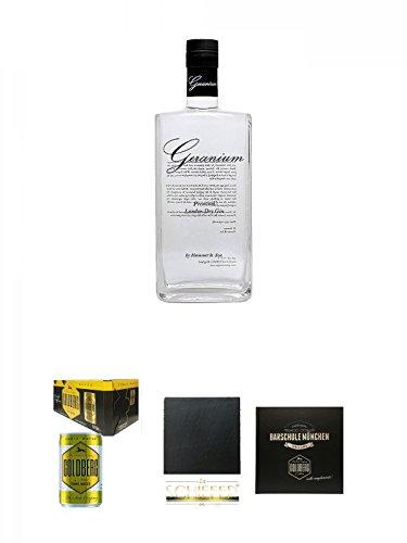 Geranium Premium London Dry Gin 0,7 Liter + Goldberg Tonic Water DOSE 8 x 0,15 Liter Karton + Schiefer Glasuntersetzer eckig ca. 9,5 cm Durchmesser + Barschule München Buch
