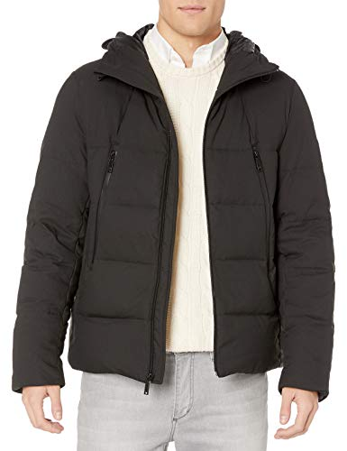 Vince Camuto Men's Hooded Down Puffer Jacket, Very Black, X-Large