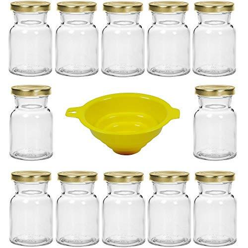 Viva Haushaltswaren - Juego de 12 tarros de Especias de Cristal (150 ml, Cierre de Rosca, Incluye Embudo)
