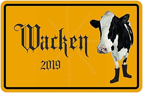 Sticker-Designs 10cm! Klebe-Folie Wetterfest Made-IN-Germany Kuh Gummistiefel Wacken Ortsschild Metal 2019 W33 UV&Waschanlagenfest Auto-Aufkleber
