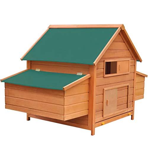 Gallinero Exterior Madera Integrado Run Limpieza Bandeja Casa para Gallinas Jaula para Animales Pequeños Pollo 157x97x110 cm