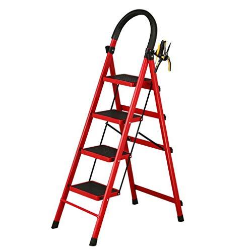 LRZLZY 4-Step Stahlleiter, tragbare Falten Haushalt Stehleitern, Heavy Duty Schritt Hocker, Küchenhocker, Anti-Slip mit Gummihandgriff (Color : Red)