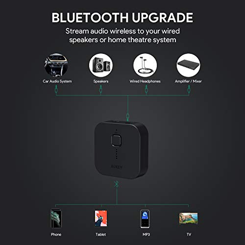 AUKEY Bluetooth 5 Receiver Wireless Audio Music Adapter A2DP with 18 Hours Playtime, Hands-Free Calling and 3.5mm Stereo Jack for Home and Car Audio System (Upgrade)
