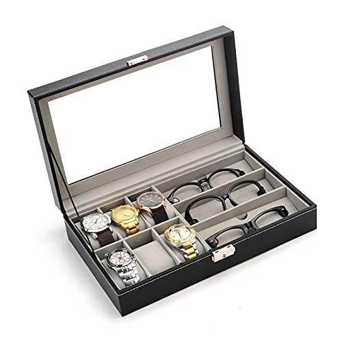 Soporte para Gafas Caja de cuero 6 Reloj Caja de joyería y lentes de 3 piezas Almacenamiento de gafas y múltiples gafas de gafas de gafas de gafas para mujer Hombres Gafas de Sol Organizador