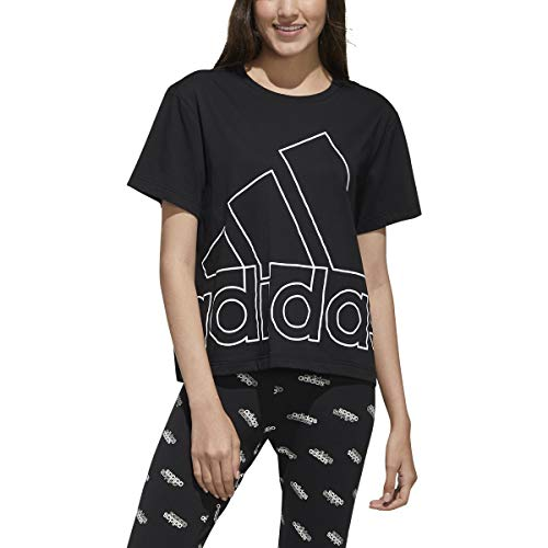 adidas Big Logo Tee - Women's Casual M Black/White